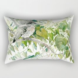 Crested Kingfisher and Japanese Knotweed Rectangular Pillow