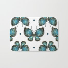 Colorful Butterflies and Flowers V4 Bath Mat