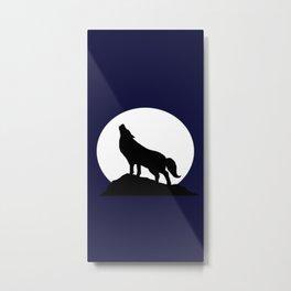 Howling Moon Wolf Metal Print