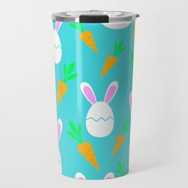 Happy Bunnies & Carrots | Easter Bunny | Easter Egg Bunny | pulps of wood Travel Mug