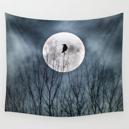 Night Raven Lit By The Full Moon Wall Tapestry