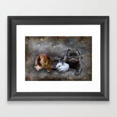 Rabbits and a Pug Framed Art Print