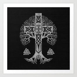 Tree of life  -Yggdrasil  and Celtic Cross Art Print