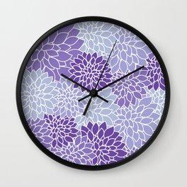 Ultra Violet Lavender Dahlias Wall Clock