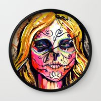 dia de los muertos Wall Clocks featuring Dia De Los Muertos by Liz Haywood