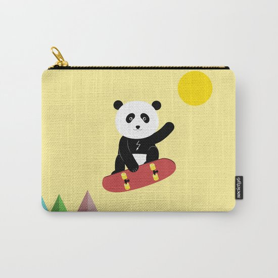 Panda on a skateboard Carry-All Pouch