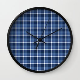 Navy Plaid Wall Clock