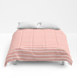 Geometric, Line Art, Colorful Stripes, Coral Pink and White Comforters