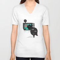 tv V-neck T-shirts featuring TV by BUBUBABA