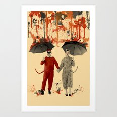 Skeleton Rain Art Print