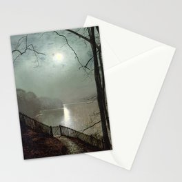 John Atkinson Grimshaw - Moonlight on the Lake, Roundhay Park - Victorian Retro Vintage Painting Stationery Cards