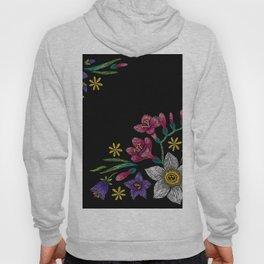 Embroidered Flowers on Black Corner 02 Hoody
