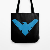 nightwing Tote Bags featuring Minimal Superheroes - Nightwing by AlexR56