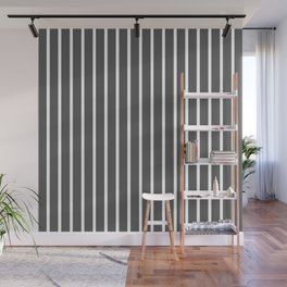 Dark Grey and White Vertical Stripes Pattern Wall Mural