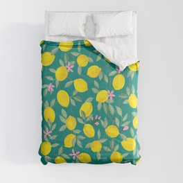 Lemons and Blossoms on Teal Comforters