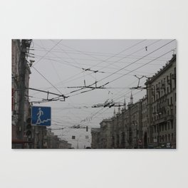 Overhead wires Moscow Canvas Print