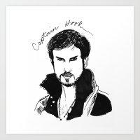 captain hook Art Prints featuring Captain Hook by *deim lacquer