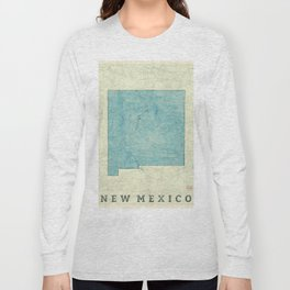 New Mexico State Map Blue Vintage Long Sleeve T-shirt