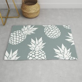 Festive, Tropical, Pineapples, Sage Green Rug