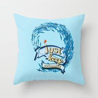 finding nemo Throw Pillows featuring just keep swimming.. finding nemo by studiomarshallarts