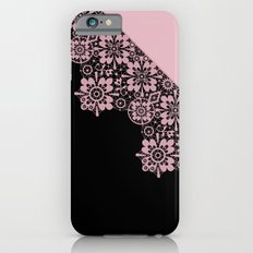 Pink lace on a black background . Slim Case iPhone 6s