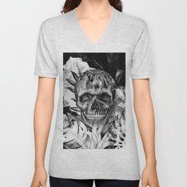 Black White Boho Skull Unisex V-Neck