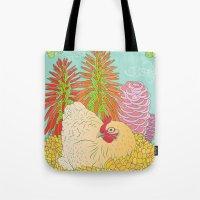 chicken Tote Bags featuring Chicken by Raewyn Haughton