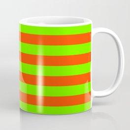 Super Bright Neon Orange and Green Horizontal Beach Hut Stripes Coffee Mug
