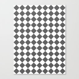 Diamonds - White and Dark Gray Canvas Print