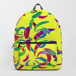 Pattern from colored doodles and curls in floral ornament in ethnic style on a yellow background. Backpack