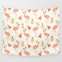 Watermelon Flamingo Pineapple Wall Tapestry