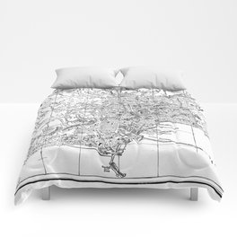 Vintage Map of Naples Italy (1901) BW Comforters