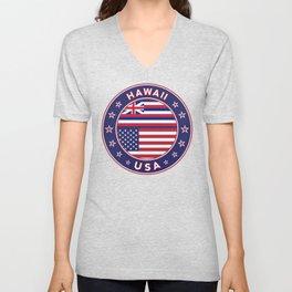 Hawaii, Hawaii t-shirt, Hawaii sticker, circle, Hawaii flag, white bg Unisex V-Neck