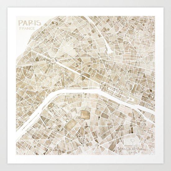 Paris France watercolor  city map Art Print