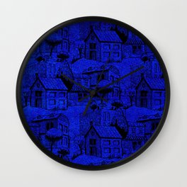V25 Blue Architecture Design Traditional Moroccan Rug Background. Wall Clock