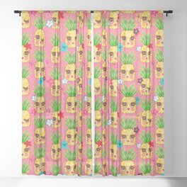 Happy Kawaii Cute Pineapples on Pink Sheer Curtain