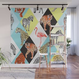 Cool Vintage Retro Zebra Tiger Cheetah Flamingo Wild Safari Animal Lover Print Wall Mural