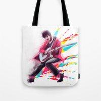 darren criss Tote Bags featuring Listen Up Darren Criss by Ines92