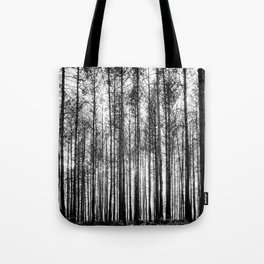 trees in forest landscape - black and white nature photography Tote Bag