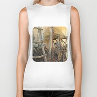 bicycles Biker Tanks featuring Brooms and Bicycles  by Ethna Gillespie