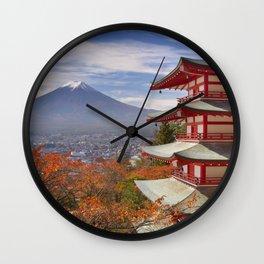 Chureito pagoda and Mount Fuji, Japan in autumn Wall Clock