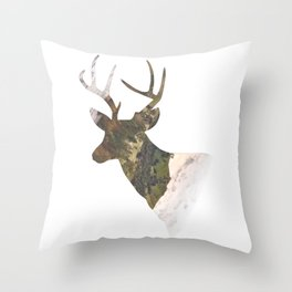 Deer silhouette mountain outdoor antlers gift Throw Pillow