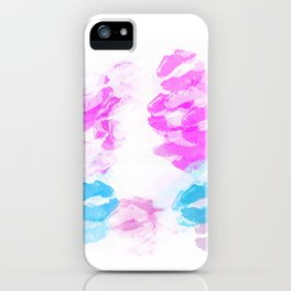 kisses lipstick pattern abstract background in pink and blue iPhone Case
