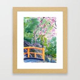 Sakura over the bridge Framed Art Print