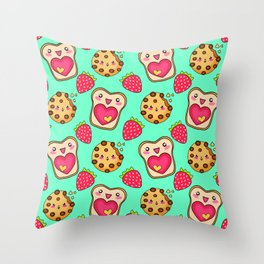 Cute funny sweet adorable happy Kawaii toast with raspberry jam and butter, chocolate chip cookies, red ripe summer strawberries cartoon fantasy pastel green pattern design Throw Pillow