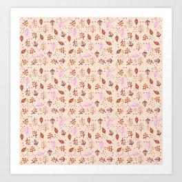 Autmun Leaves (Brown) Pattern Art Print