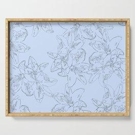 blue line art flower pattern Serving Tray