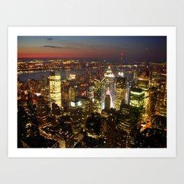 New York Empire State Night Art Print