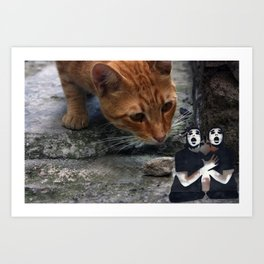 cat with pantomime confused Art Print