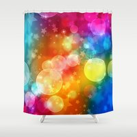 xmas Shower Curtains featuring Colorful Xmas by Tom Lee